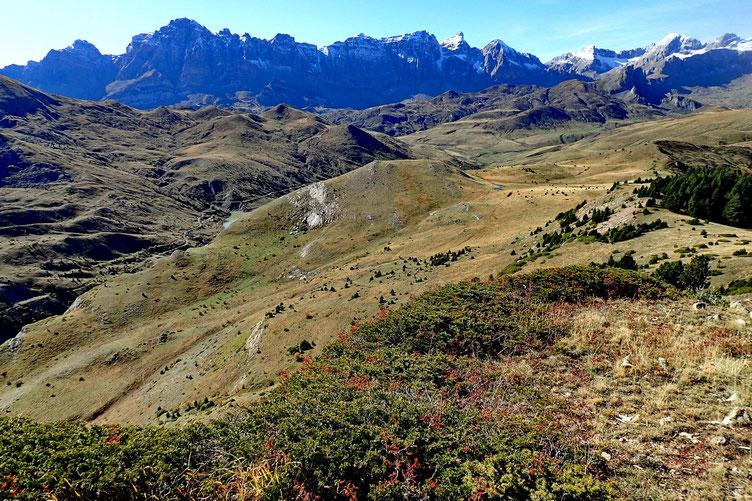 Vers la petite éminence où j'ai dejeuné. Au fond, la Sierra de la Partacua.