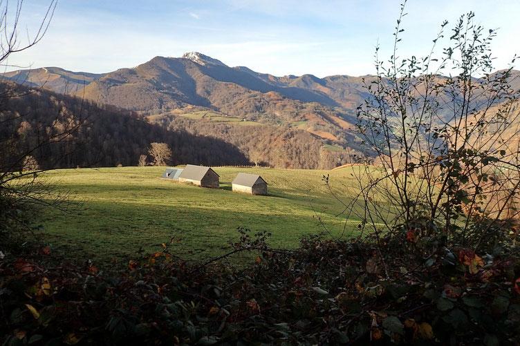 Avec au fond le Pic d'Orhy (2017m) le premier 2000 à l'Ouest des Pyrénées.