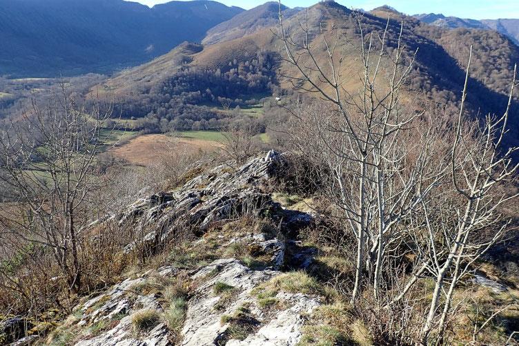 En bas la zone marécageuse du Col d'Ech.