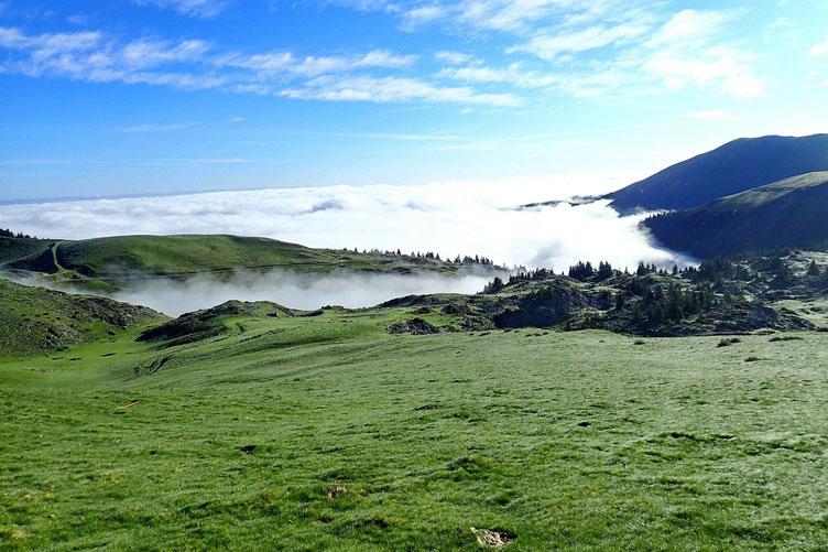 La brume monte et descend.
