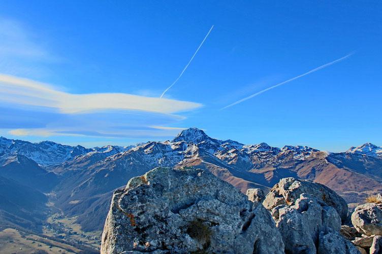Arrivée au Pène de Bédout et vue sur le Pic du Midi.