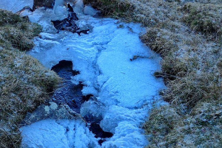 Le petit torrent est gelé.