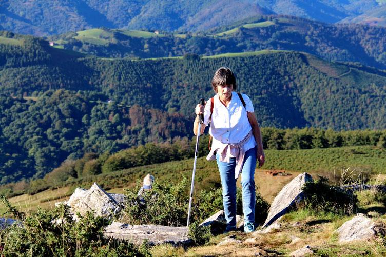 Christiane à l'arrivée au sommet.