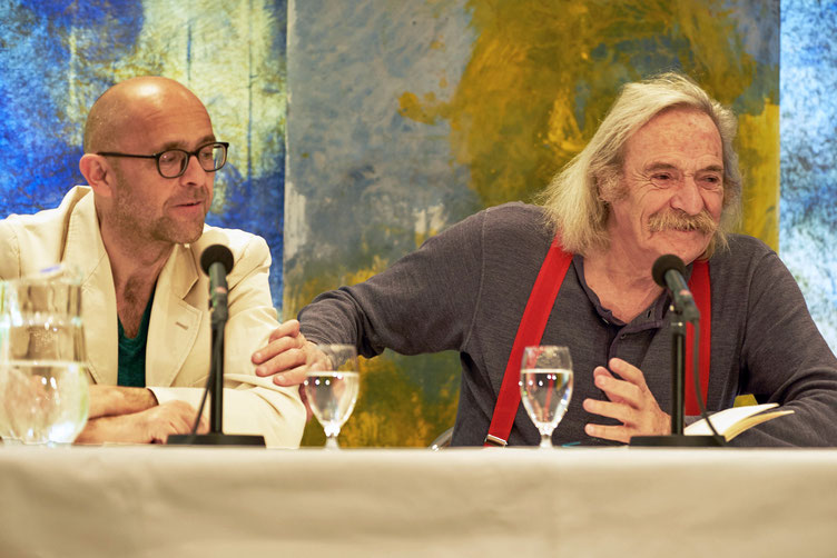 Autor Jack Hirschman und seine deutsche Stimme Ernst Gossner. Foto: Marc Tschudin