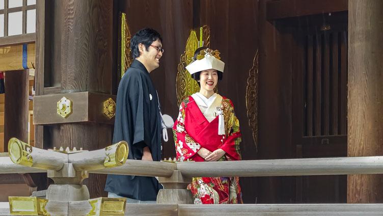 Couple de mariés japonais, Meiji-Jingu, quartier de Harajuku