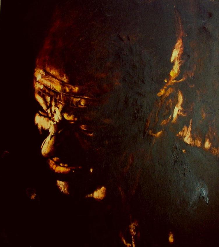 """""""Fottuti rotti in culo...""""  (2009) olio su legno, cm (40 x  35,3)"""