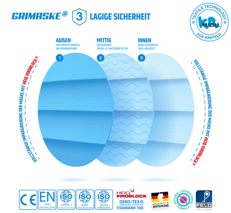 Gesichtsmaske Mundschutzmaske mit Viroblock ® Beschichtung 99% Schutz gegen Viren von Feld Textil GmbH in Krefeld - https://www.krawatten-tuecher-schals-werbetextilien.de/