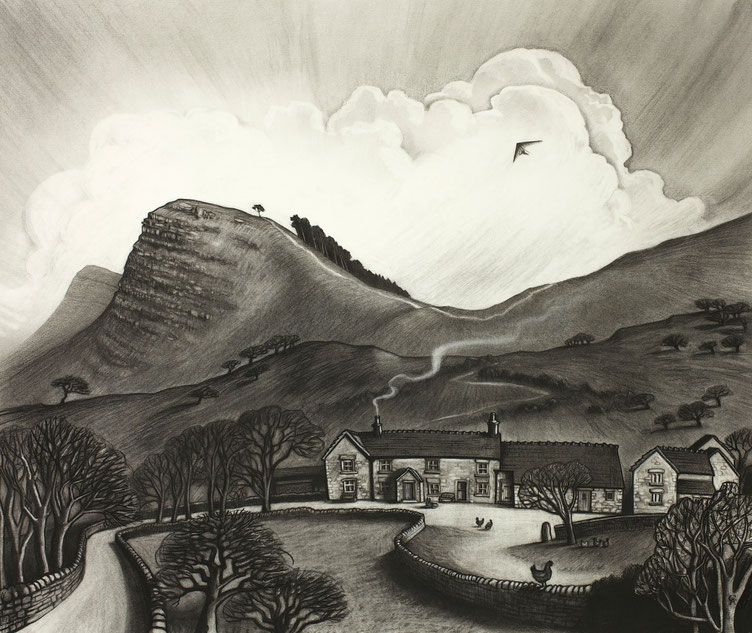 Clare Allan charcoal, Edale, Mam Tor, Back Tor