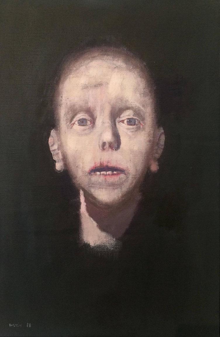 Jean Rustin, Tête de femme, 1988, peinture sur toile, 41 x 27 cm