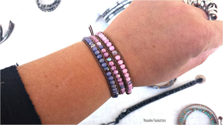 Bracelet manchette wrap MAHE 3 tours cuir et perles rose et parme, fait main en France, bohème, idée cadeau, multitours