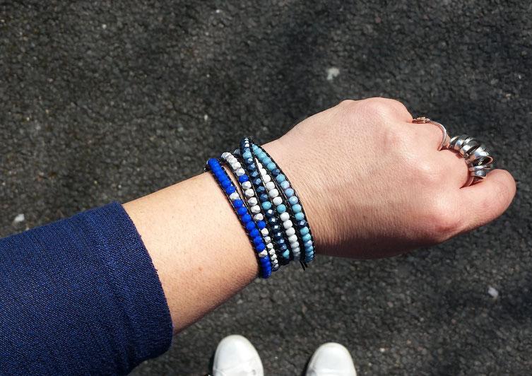 Bracelet tendance wrap azur 5 rangs bleu perles et cuir bassin d'Arcachon idée cadeau femme bijou noël