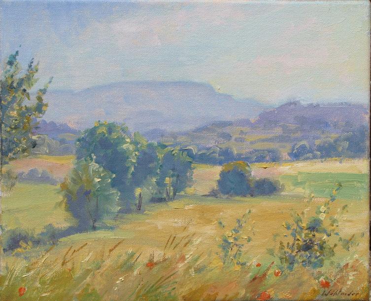 Tony Wahlander (Wåhlander) Paysage de Provence Tableau du mont de la Sainte-Baume au fond de la plaine de Brue-Auriac