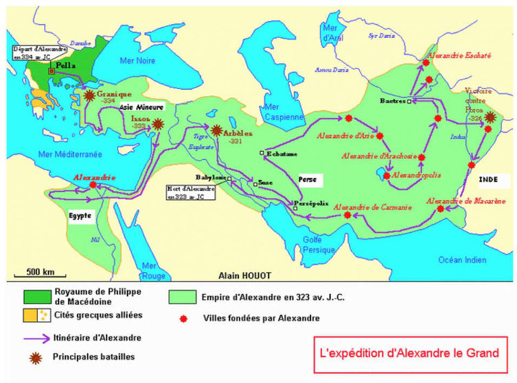 Alexandre le grand a vaincu les Perses aux batailles de Granique, Issos et Gaugamèles. Il renverse ainsi l'empire perse achéménide comme prophétisé dans la Bible, dans le livre de Daniel.