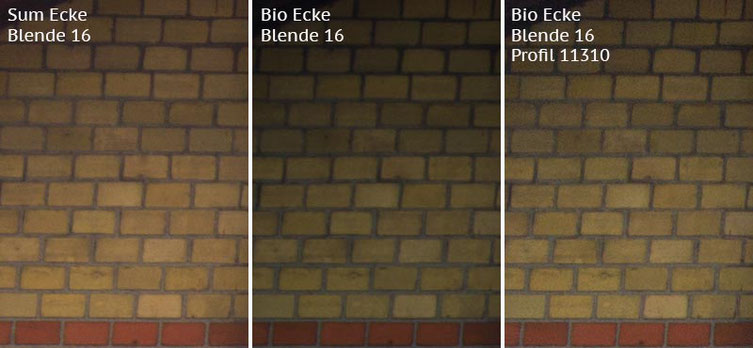 Vergleich Bildecke bei Blende 16: Summicron-M 2,0/35mm Asph. vs. Biogon ZM 2,0/35mm ohne/mit Profil. Foto: Klaus Schoerner