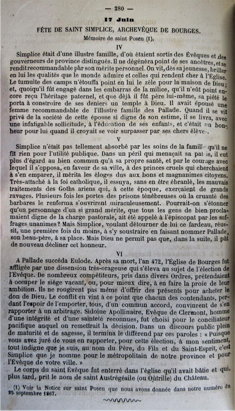 Paru dans la Semaine Religieuse du Berry du 10 juin 1868