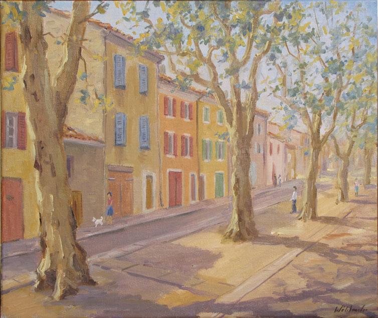 Tony Wahlander (Wåhlander) Rougiers, village Provençale, sa place longée de platanes