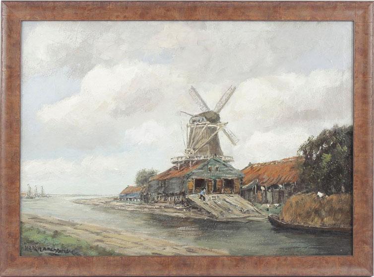 te_koop_aangeboden_een_landschaps_schilderij_met_molen_en_houtzagerij_van_de_nederlandse_kunstschilder_hendrik_cornelis_kranenburg_1917-1997