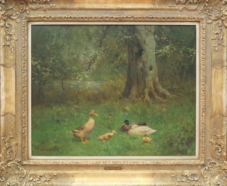 te_koop_aangeboden_een_eenden_schilderij_van_de_nederlandse_kunstschilder_constant_artz_1870-1951_haagse_school