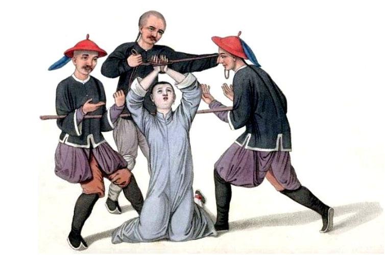 Les punitions des Chinois. Texte de George Henry Mason. Gravures de J. Dadley. G. Miller, Londres, 1801. 10. Manière de mettre les doigts à la torture.