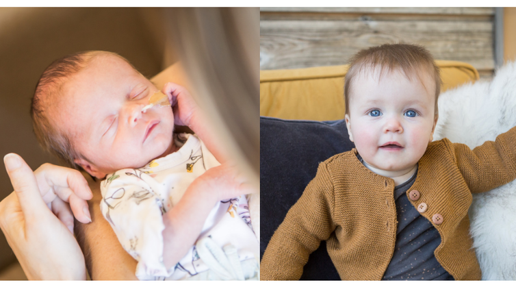 Links kleine Emilie in mei 2018, rechts Emilie in januari 2019!