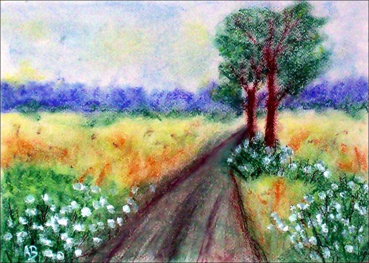 Bäume am Weg, Pastellgemälde, Wald, Felder, Bäume, Feldweg, Blumen, Natur, Landschaftsbild, Pastellmalerei, Pastellbild