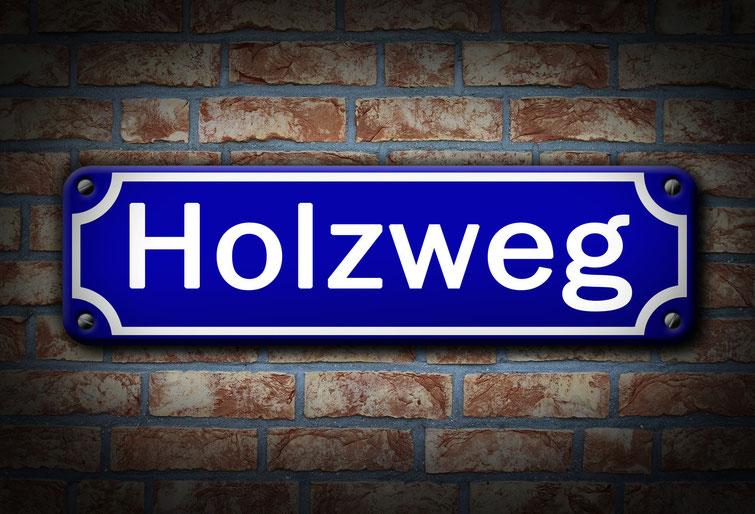 """Straßenschild """"Holzweg""""; Mitarbeiterüberwachung Dortmund, Mitarbeiterprüfung Dortmund, Observation Dortmund"""