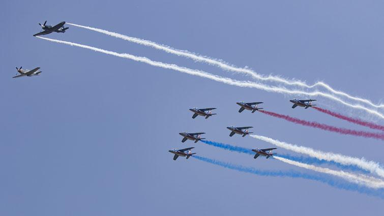 Défilé d'ouverture :  P51 Mustang,Sea Fury et la Patrouille de France