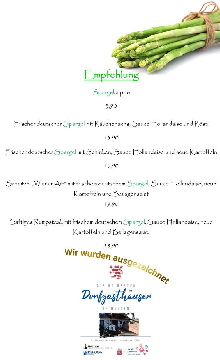 Spargelzeit im Restaurant Künstlerhaus Lenz in Gladenbach.  Frische Spargelgerichte in Gladenbach genießen. Wendel Spargel. Spargelkarte Restaurant Gladenbach. Die 50 besten Dorfgasthäuser in Hessen.