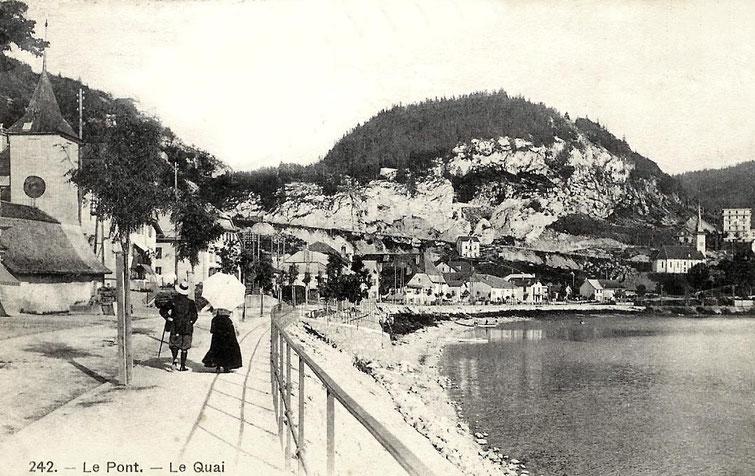 Der Spaziergang der Engländer. Der Anlegeplatz, hier während des Baus, wird 1903 fertig gestellt. Obstbäume sind soeben gepflanzt worden