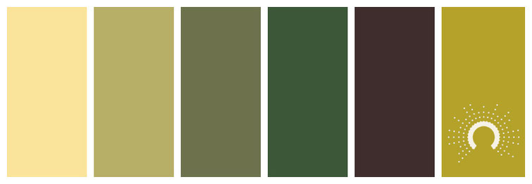 color combo, color palette, yellow-green, green, yellow, red, brown