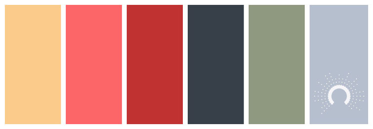 color palette, Farbpalette, Farbinspiration, color inspiration, yellow-orange, red-orange, red, gray, green, blue, gelb, pink, rot, grau, grün, blau