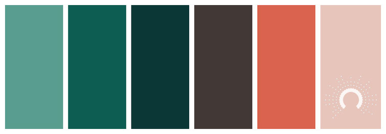 Farbinspiration green, blue-green, blue, brown, orange, blaugrün, braun, braun, redorange, rotorange, orange, rot
