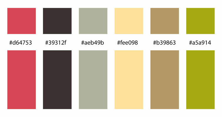 color combo, color palette,  red, brown, green, yellow, beige, yellow-green, yellow-orange, orange