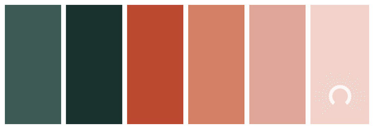 color palette, Farbpalette, Farbinspiration, color inspiration, red-orange, rotorange, blue-green, blaugrün, rosa, rose