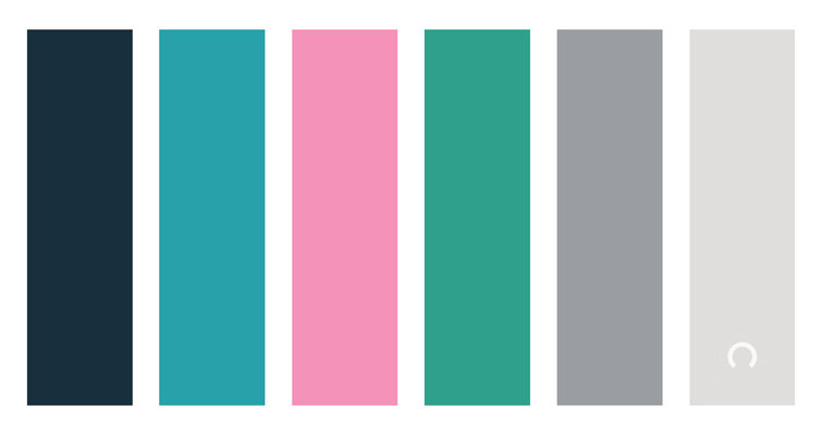 color combo, color palette,  blue, green blue, pink, red, green, grey