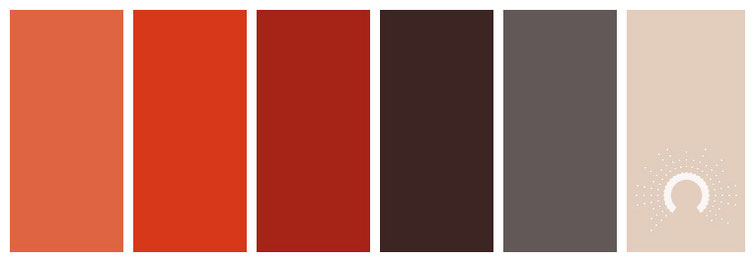 color palette, Farbpalette, Farbinspiration, color inspiration, red, red-orange, brown, grey, beige, rot, rotorange, braun, grau, sand