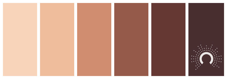 color palette: brown, sand, orange, red, purple