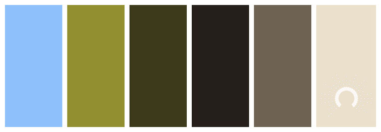 color combo, color palette, blue, green, yellow-green, brown, sand, beige
