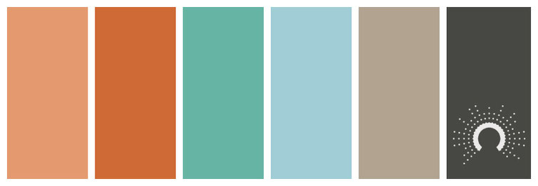 color palette, Farbpalette, Farbinspiration, color inspiration, red-orange, rotorange, blue-green, blaugrün, blau, beige, grau, grey, gray