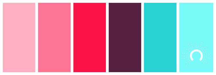 color palette, Farbpalette, Farbinspiration, color inspiration, red, pink, rose, purple, red-violet, blue-green, blue, blau, rot, rosa, lila