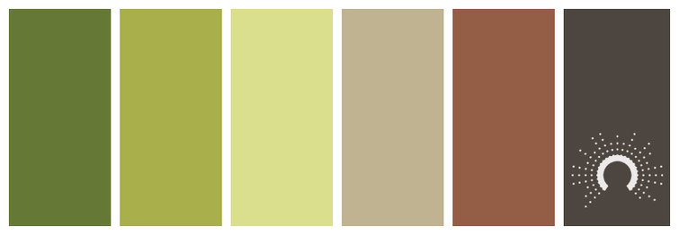 color combo, color palette, yellow-green, green, yellow, red, brown, sand, beige, grey