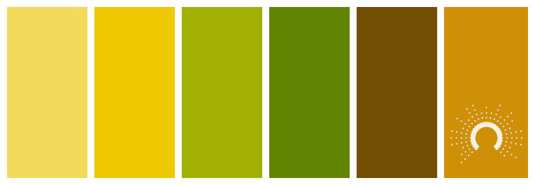 color palette: brown, orange, green, yellow, Farbpalette: braun, gelb, orange, gelb