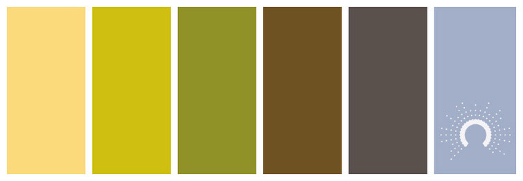 color palette, Farbpalette, Farbinspiration, color inspiration, grün, gelb, braun, lila, blau, green, yellow, blue, purple