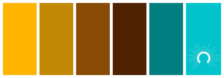 color palette, Farbpalette, Farbinspiration, color inspiration, gelb, yellow, brown, braun, turquoise, türkis