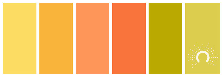 color palette, Farbpalette, Farbinspiration, color inspiration, grün, green, gelb, yellow, orange, analogous