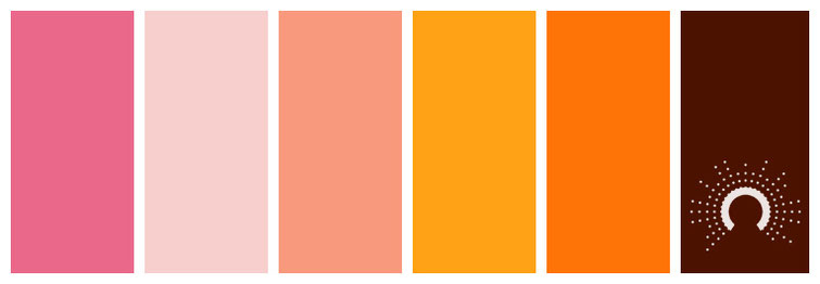 color palette, Farbpalette, Farbinspiration, color inspiration, red-orange, rotorange, braun, brown, yellow-orange, gelborange, orange, pink, rosa
