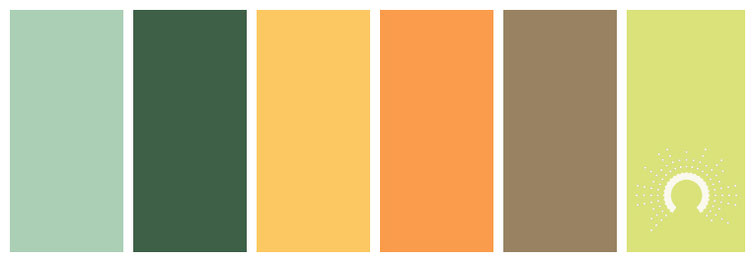 color combo, color palette, green, yellow, yellow-orange, orange, brown, yellow-green, gelbgrün