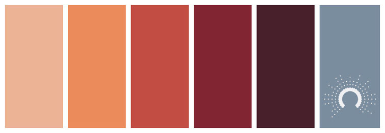 color palette, Farbpalette, Farbinspiration, color inspiration, red-orange, rotorange, orange, rot, red-violet, rotviolet, lila, purple, blau