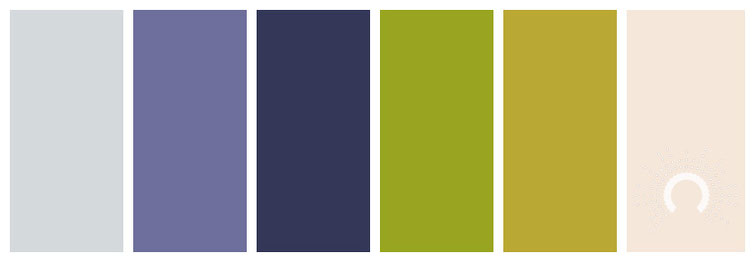 color palette, Farbpalette, Farbinspiration, color inspiration, blue-grey, blue-violet, green, yellow-green, orange, sand, blauviolet, blaulila, graublau