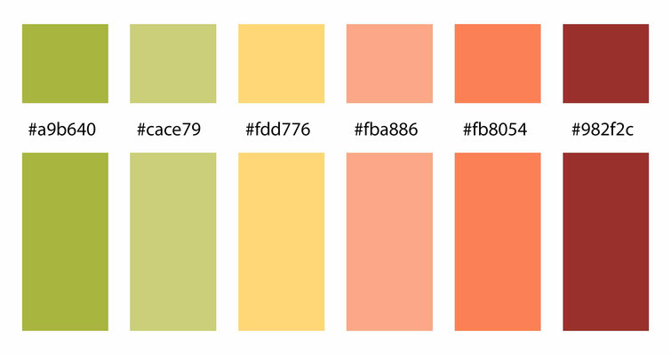 color combo, color palette, yellow, orange, red-orange, green, yellow-green